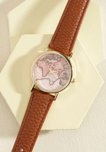Next Stop, the Time Zone Watch in Brown - Tan, Casual, Statement, Travel, Better, Faux Leather, Gifts2015