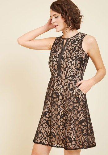 Life's Luxuries Lace Dress by Wendy Bird - Black, Tan / Cream, Solid, Special Occasion, Party, Cocktail, Holiday Party, Wedding Guest, A-line, Sleeveless, Fall, Lace, Best, Exclusives, Scoop, Woven, Cutout, Lace, Girls Night Out, Daytime Party, Graduation, Valentine's, Homecoming, Vintage Inspired, 20s, Luxe, Fit & Flare, Sheath, Winter, Short, Knee