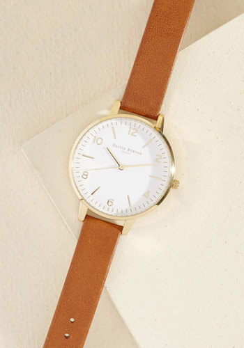 Terrific Timing Watch - Big by Olivia Burton - Brown, White, Menswear Inspired, Vintage Inspired, Fall, Gold, Exceptional, Luxe Gifts