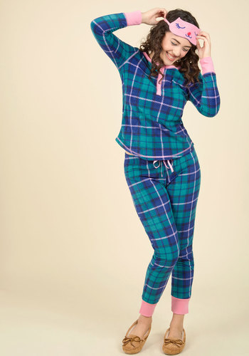 Nocturnal Yourself Out Pajama Set in Plaid - Green, Blue, Pink, Plaid, Print, Lounge, Critters, Fall, Winter, Better, Knit, Under 50 Gifts, Holiday Gifts