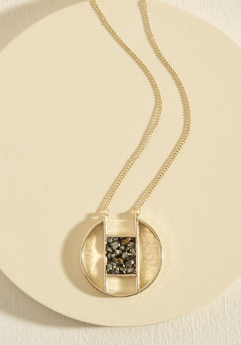 Geo Down in History Necklace - Gold, Black, Casual, Girls Night Out, Urban, Nature, Gals, Under $20, Gold