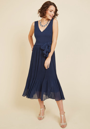 Lively Variety Midi Dress - Blue, Pleats, Special Occasion, Party, Cocktail, Wedding Guest, A-line, Sleeveless, Spring, Summer, Fall, Winter, Woven, Better, Exclusives, V Neck, Solid, Holiday Party, Homecoming, Vintage Inspired, 30s, Fit & Flare, Midi, Long