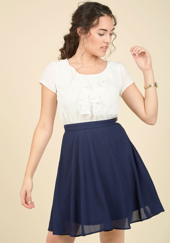 Show You to Your Sweet A-Line Dress - Blue, White, Solid, Work, Twofer, Short Sleeves, Woven, Mid-length, Casual, Nautical, Vintage Inspired, 50s, A-line, Spring, Summer, Better, Scoop, Saturated