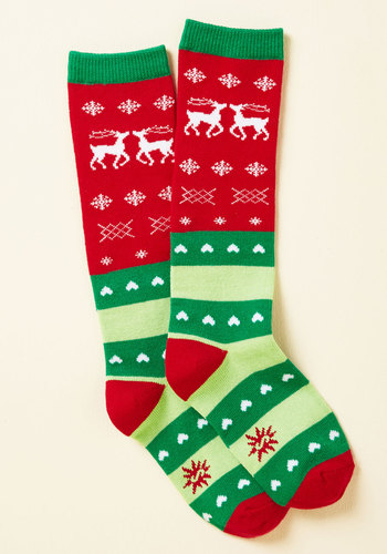 Yule Never Walk Alone Youth Socks - Green, Red, Fairisle, Holiday, Quirky, Winter, Good, Green, Saturated