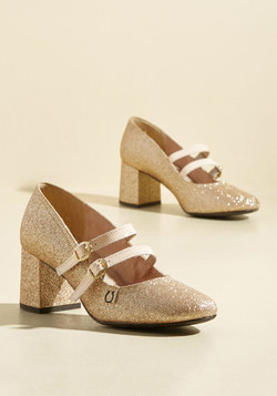 Peerless Personality Leather Heel in Gold Sparkle