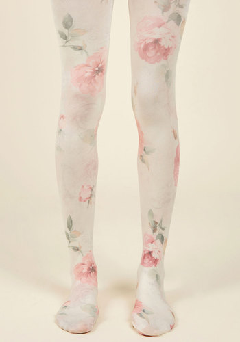As Fleur Your Request Tights - Cream, Pink, Floral, Print, Special Occasion, Work, Casual, Spring, Summer, Fall, Winter, Best, Under 50 Gifts, Unique Gifts, Valentine's
