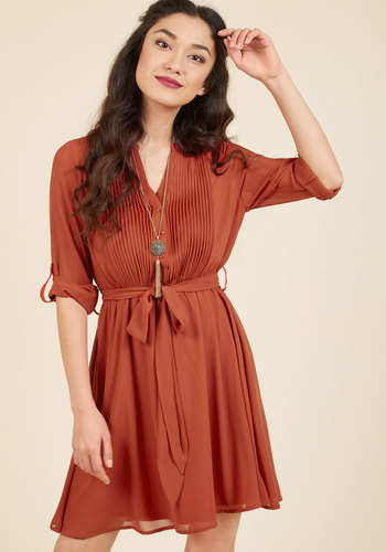 Thesis Just the Beginning Shirt Dress in Pumpkin - Red, Solid, Work, Casual, A-line, Shirt Dress, 3/4 Sleeve, Fall, Woven, Better, Exclusives, Mid-length, Best Seller, Best Seller