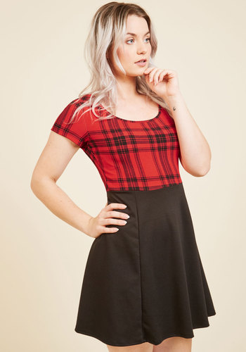 Won't Setlist for Less A-Line Dress in Red - Red, Black, Plaid, Print, Work, Casual, A-line, Twofer, Short Sleeves, Fall, Winter, Knit, Better, Exclusives, Private Label, Short