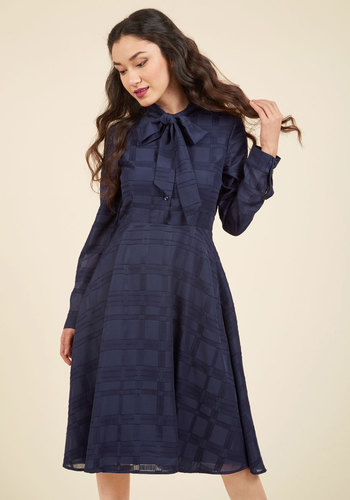 Dignified Delivery Shirt Dress in Navy - Blue, Solid, Work, Casual, A-line, Shirt Dress, 3/4 Sleeve, Fall, Winter, Woven, Best, Exclusives, Long