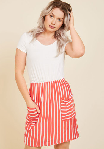 Comings and Easygoings Twofer Dress in Coral - Coral, White, Stripes, Print, Casual, A-line, Twofer, Short Sleeves, Fall, Winter, Knit, Good, Exclusives, Private Label, Mid-length