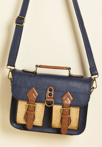 Dwelling a Tale Bag in Navy - Blue, Brown, Buckles, Work, Casual, Scholastic/Collegiate, Faux Leather, Exclusives, Tis the Season Sale