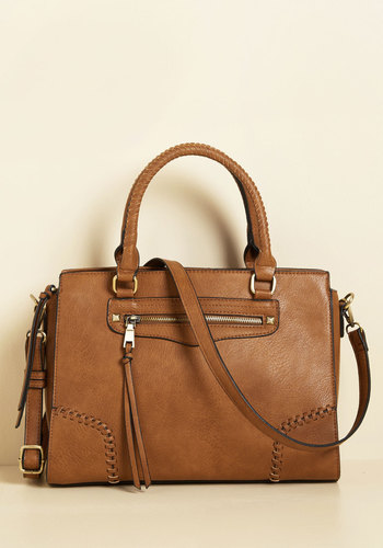 Stitchy Situation Bag - Brown, Solid, Exposed zipper, Work, Casual, Winter, Better, Faux Leather