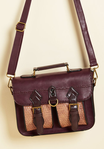 Dwelling a Tale Bag in Maroon - Red, Brown, Buckles, Work, Casual, Vintage Inspired, Scholastic/Collegiate, Winter, Better, Faux Leather
