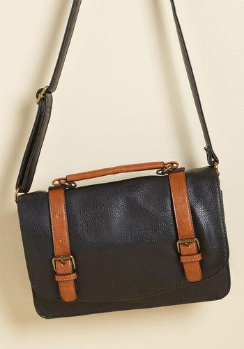 Advised Intellectual Bag in Black - Black, Brown, Solid, Buckles, Work, Casual, Vintage Inspired, Scholastic/Collegiate, Winter, Better