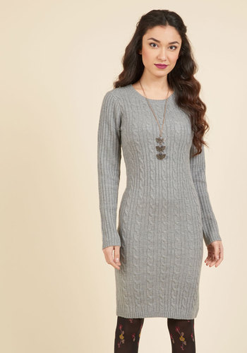 Luxe Lodge Sweater Dress in Smoke - Grey, Solid, Casual, Sweater Dress, Bodycon / Bandage, Long Sleeve, Fall, Knit, Better, Under 100 Gifts, Cozy2015, Long