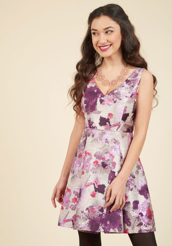 Light Up Every Room Floral Dress by Adrianna Papell - Purple, Floral, Print, Special Occasion, Cocktail, Homecoming, Wedding Guest, Luxe, A-line, Sleeveless, Fall, Winter, Woven, V Neck, Grey, Party, Holiday Party, Vintage Inspired, 50s, Statement, Fit & Flare, Knee Length, Knee, Saturated, Pink, Silver, Backless, Pleats, Prom, Short, Best