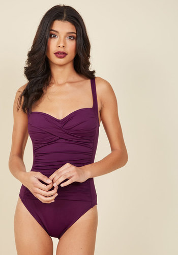 Summer in the Sizzle One-Piece Swimsuit in Plum - Purple, Solid, Ruching, Beach/Resort, Minimal, Spring, Summer, Fall, Winter, Better, Variation, Purple, Saturated