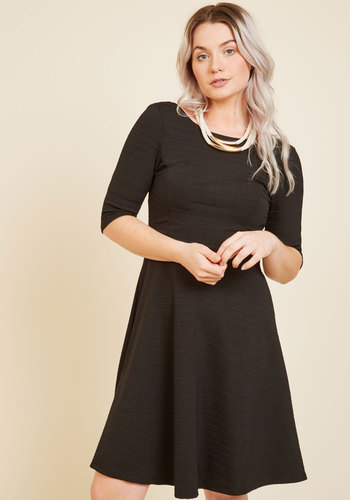 Textured Technique A-Line Dress - Black, Solid, Work, Casual, Cocktail, Daytime Party, LBD, A-line, 3/4 Sleeve, Fall, Winter, Woven, Good, Mid-length, Party, Black, Vintage Inspired, 60s, Urban, Minimal, Boat