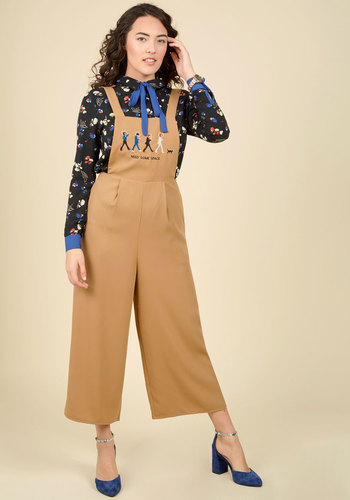 1940s Style Pants & Overalls- Wide Leg, High Waist Abbey Chic Overalls $99.99 AT vintagedancer.com