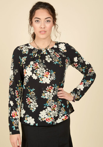Stylishly Certain Floral Top in Black Blooms