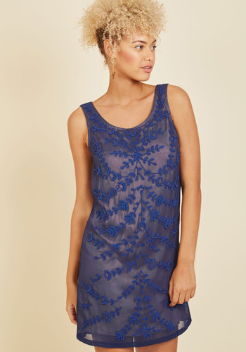 Known Intricately Mini Dress - Blue, Beads, Embroidery, Special Occasion, Party, Cocktail, Holiday Party, Homecoming, Wedding Guest, Vintage Inspired, 20s, 30s, Luxe, Mini, Shift, Tank top (2 thick straps), Summer, Fall, Winter, Sheer, Woven, Exceptional, Exclusives, Scoop, Mid-length
