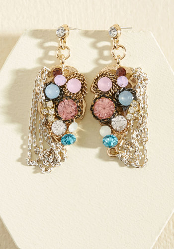 Mix Business With Treasure Earrings - Under 50 Gifts, Under 25 Gifts, Sparkly2015, Gold, Gold, Pink, Chain, Rhinestones, Special Occasion, Party, Cocktail, Girls Night Out, Spring, Winter, Fall, Good