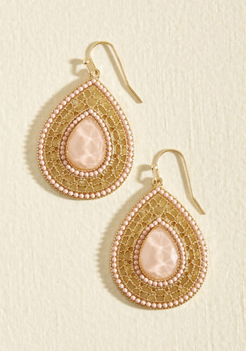 Live, Laugh, Lobe Earrings in Blush - Blush, Beads, Prom, Wedding, Party, Cocktail, Bridesmaid, Wedding Guest, Winter, Good, Gold