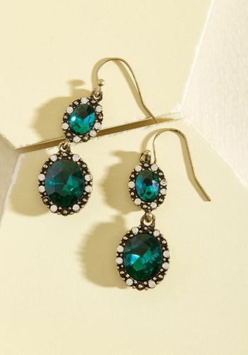 Glitz the Best Earrings in Pine - Green, Rhinestones, Prom, Wedding, Party, Cocktail, Girls Night Out, Wedding Guest, Vintage Inspired, Winter, Gold, Good