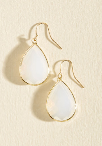 Receiving Drop Honors Earrings in Cloud - White, Prom, Wedding, Party, Work, Cocktail, Wedding Guest, Gold, Good