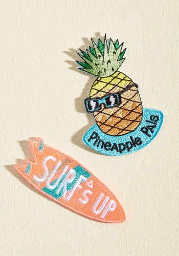 Beach Who You Wanna Be Patch Set by Mokuyobi - Pop Culture Gifts, Unisex Gifts, Under 25 Gifts, Orange, Yellow, Blue, Beach/Resort, 80s, 90s, Handmade & DIY, Neon, Quirky, Sayings, Summer