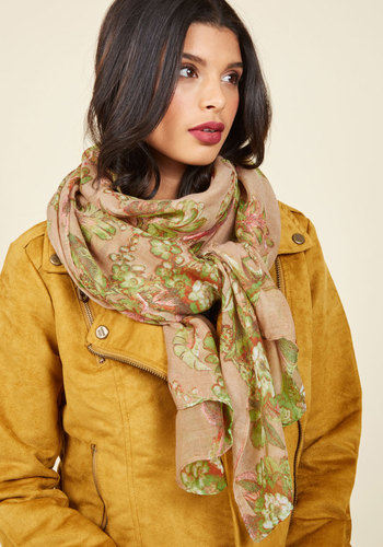 Delicate Adornment Scarf - Yellow, Green, Floral, Work, Casual, Daytime Party, Winter, Good, Woven