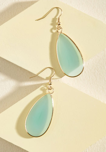 Droplet in the Ocean Earrings - Blue, Gold, Party, Cocktail, Winter, Gold, Good