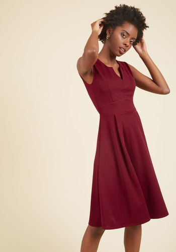 Predilect Your Thoughts A-Line Dress - Red, Solid, Work, A-line, Short Sleeves, Knit, Good, Long