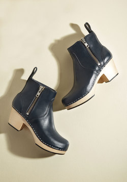 Climb With Confidence Leather Bootie in Navy