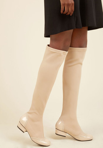 1960s Style Shoes Upcoming Classic Boot in Ecru $119.99 AT vintagedancer.com