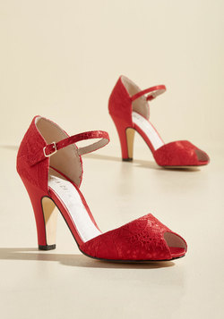 The Sole Works Peep Toe Heel in Scarlet