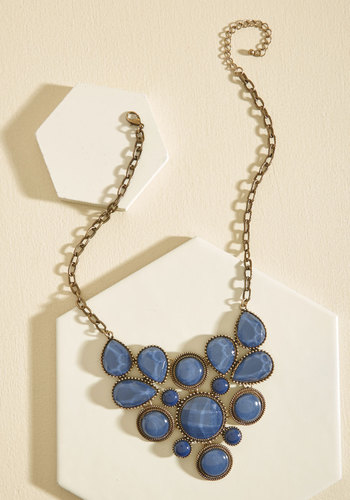 Enlighten the Mood Necklace in Midnight Blue - Blue, Bronze, Gold, Prom, Wedding, Party, Cocktail, Homecoming, Statement, Winter, Gold, Better
