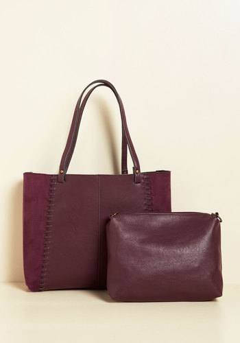 Up to Tote Good Bag - Red, Solid, Work, Casual, Winter, Suede, Faux Suede, Better, Tis the Season Sale