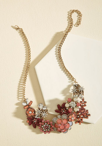 Vow to Wow Necklace in Fuchsia - Red, Gold, Flower, Rhinestones, Prom, Wedding, Party, Wedding Guest, Statement, Winter, Better, Gold, Holiday Party