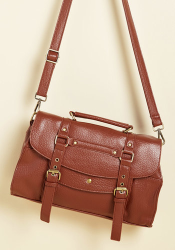 Buckle Down the Satchels Bag in Clay - Brown, Solid, Buckles, Work, Casual, Vintage Inspired, Rustic, Scholastic/Collegiate, Winter, Faux Leather, Better