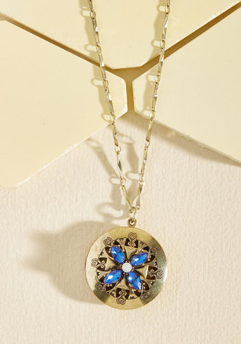 Early Morning Hush Necklace in Navy - Gold, Gold, Blue, Rhinestones, Party, Vintage Inspired, Metal, Gals