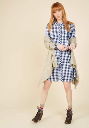 Sample in Style Shirt Dress by ModCloth - Blue, White, Checkered / Gingham, Print, Work, Casual, Americana, A-line, Shirt Dress, Long Sleeve, Fall, Winter, Woven, Best, Exclusives, Private Label, Long, Pockets