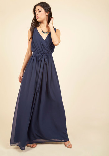 Terrace Time-Out Maxi Dress in Navy by ModCloth - ModCloth Label, Blue, Pockets, Belted, Special Occasion, Wedding, Party, Holiday Party, Bridesmaid, Wedding Guest, 70s, Maxi, Wrap, Sleeveless, V Neck, Woven, Long, Saturated, Solid, Homecoming, Vintage Inspired, Spring, Summer, Fall, Winter, Best
