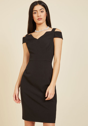 Craving Chic Sheath Dress by Adrianna Papell - Woven, Black, Solid, Cutout, Special Occasion, Party, Girls Night Out, Wedding Guest, Sheath, Spring, Summer, Fall, Winter, Knee, Best, V Neck, LBD, Holiday Party, Pinup, Vintage Inspired, 50s, Statement, Black, Cocktail, Valentine's, Pencil, Bodycon / Bandage, Cap Sleeves, Knee Length