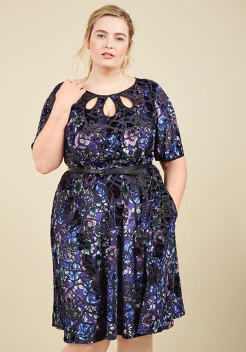 Present the Event Velvet Dress in Indigo by ModCloth - Blue, Black, Floral, Print, Work, Daytime Party, Vintage Inspired, 40s, A-line, Short Sleeves, Winter, Best, Exclusives, Private Label, Velvet, Knit, Mid-length, ModCloth Label, Cutout, Pockets, Belted, Party, Holiday Party