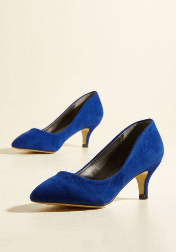 1960s Fashion: What Did Women Wear? Luxe of the Issue Heel in Cobalt $39.99 AT vintagedancer.com