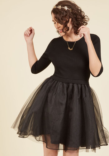 Soiree Sophistication A-Line Dress in Noir - Black, Solid, Holiday Party, Daytime Party, LBD, Fit & Flare, 3/4 Sleeve, Fall, Winter, Knit, Tulle, Better, Mid-length, Party, Twofer, A-line
