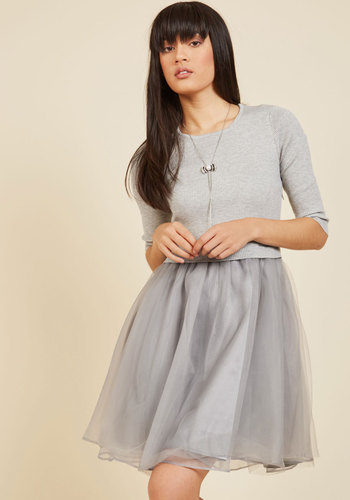 Soiree Sophistication A-Line Dress in Smoke - Grey, Solid, Holiday Party, Daytime Party, A-line, Ballerina / Tutu, 3/4 Sleeve, Fall, Winter, Tulle, Sweater, Better, Long, Party, Girls Night Out
