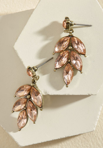 Editor in Leaf Earrings in Blush - Under 50 Gifts, Under 25 Gifts, Sparkly2015, Gold, Tis the Season Sale, Blush, Special Occasion, Wedding, Party, Vintage Inspired, 20s