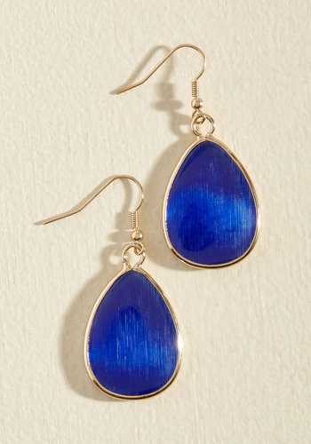 'Til You Droplet Earrings in Sapphire - Blue, Party, Cocktail, Daytime Party, Winter, Gold, Good